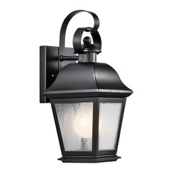Kichler Lighting - Kichler Lighting Mount Vernon Traditional Outdoor Wall Sconce X-KB7079 - Modern lines compliment the traditional style and classic lantern shape of this Kichler Lighting outdoor wall sconce. From the Mount Vernon Collection, it features a warm Olde Bronze finish and coordinating etched seedy glass shade that pulls the look together. U.L. listed for wet locations.