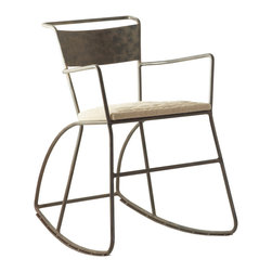 Kathy Kuo Home - Klass Industrial Modern Raw Steel Rocking Arm Chair - No way your grandpa's rocking chair! This remarkable piece boasts a sculptural frame of powder-coated iron and a rustic burlap-covered seat. Add this dynamic, industrial-inspired number to your decor and you'll never get off your rocker!