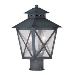 "Livex Lighting - Livex Lighting 2673 Montgomery Post Light - Livex Lighting 2673 Montgomery Two Light Outdoor Post LightFeaturing a prominent workman style design, the Montgomery two light post light features a simple rustic kerosene lamp design with a perforated chimney, four sided roof, and clear seedy glass with ""x"" shaped guards. This arts and crafts style light will enhance the look of any outdoor decor.Livex Lighting 2673 Features:"