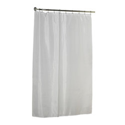"""Extra Long (84'') Polyester Shower Curtain Liner in White - 100% Polyester fabric shower curtain liner, size: Extra Long, 70"""" wide x 84"""" long, color White. Protect your shower curtain with our Extra Long (72'' wide x 84'' long) Fabric Liner--Specially designed to fit where a standard size curtain is too short. This machine-washable, 100% polyester liner resists water, protecting your favorite shower curtain from water damage without the plastic look of vinyl. Additionally, a weighted hem ensures this liner holds firmly in place each time you shower. You wouldn't even need to bother with a separate shower curtain. Here in White, you can find this style liner in ivory as well. A slightly shorter (72'' wide x 78'' long) size is also available. Machine wash in warm water, tumble dry, low, light iron as needed"""