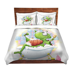 DiaNoche Designs - Duvet Cover Twill - Bubble bath - Lightweight and soft brushed twill Duvet Cover sizes Twin, Queen, King.  SHAMS NOT INCLUDED.  This duvet is designed to wash upon arrival for maximum softness.   Each duvet starts by looming the fabric and cutting to the size ordered.  The Image is printed and your Duvet Cover is meticulously sewn together with ties in each corner and a concealed zip closure.  All in the USA!!  Poly top with a Cotton Poly underside.  Dye Sublimation printing permanently adheres the ink to the material for long life and durability. Printed top, cream colored bottom, Machine Washable, Product may vary slightly from image.