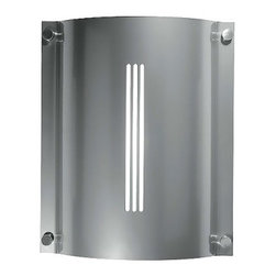 """LBL Lighting - Saturn wall sconce - Product Details:   The Saturnwall sconcefrom LBLLightinghas been designed by LBL Lighting. This wall mounted luminaire is great for indoor and outdoorincandescent lighting. The Saturnis constructed of luminous face plates in heavy-gauge formed and powder coated aluminum. The soft flowing curves of this fixture interchangeablely mount to anall aluminum powder-coated backplate. This light also features satin-nickel finished solid brass decorative screws, a frosted acrylic diffuser and stainless steel hardware. The outdoor version offers a diecast aluminum ring, clear polycarbonate enclosure and a waterproof rubber gasket. The Saturnwall sconceexhibits a sleekand compactdesign, along with quality craftsmanship, that is sure to brilliantly illuminateany contemporary environment.  Details:                                               Manufacturer:                                           LBL Lighting                                                              Designer:                                          LBL Lighting                                                              Made in:                                          USA                                                              Dimensions:                                           Height:13.75""""(34.9 cm)Width: 11.5"""" (29.2 cm)Projection: 3.8""""(9.7 cm)                                                              Light bulb:                                           2 X40W incandescent                                                              Material:                                           Aluminum, Steel, Acrylic"""