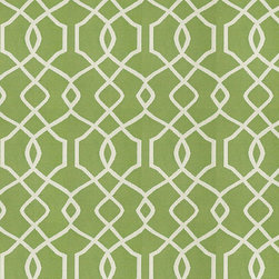 """Ballard Designs - Trellis Kiwi Sunbrella Fabric by the Yard - Content: 100% Sunbrella® Acrylic. Repeat: Railroaded fabric, 4.14"""" Repeat. Care: Spot clean with mild soap. Width: 54"""" wide. Sand and kiwi trellis woven in washable, easy-care Sunbrella acrylic.Content: 100% Sunbrella Acrylic. . . . Because fabrics are available in whole-yard increments only, please round your yardage up to the next whole number if your project calls for fractions of a yard. To order fabric for Ballard Customer's-Own-Material (COM) items, please refer to the order instructions provided for each product.Ballard offers free fabric swatches: $5.95 Shipping and Processing, ten swatch maximum. Sorry, cut fabric is non-returnable."""