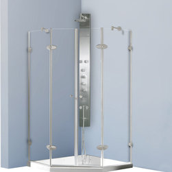Vigo - Frameless Neo-Angle 3/8in.  Clear/Brushed Nickel Shower Enclosure - The VIGO Frameless Neo-angle Clear/Brushed Nickel Shower Enclosure with Low-Profile base will be a bold and impressive addition to any bathroom.