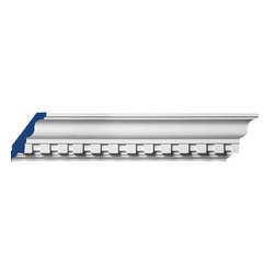 "Inviting Home - Regency Dentil Crown Molding - 8 foot length - Regency dentil crown molding 4-3/4""H x 3-3/16""P x 5-11/16""F x 8'00"" repeat - 1-3/4"" 4 piece minimum order required crown molding specifications: - outstanding quality crown molding made from high density polyurethane: environmentally friendly material is hypoallergenic and fully recyclable no CFC no PVC no formaldehyde; - front surface of this molding has extra durable and smooth surface; - crown molding is pre-primed with water-based white paint; - lightweight durable and easy to install using common woodworking tools; - metal dies were used for consistent quality and perfect part to part match for hassle free installation; - this crown molding has sharp deep and highly defined design; - matching flexible molding available; - crown molding can be finished with any quality paints; Polyurethane is a high density material--it's extremely lightweight and easy to install (and comes primed and ready to paint). It is a green material meaning its CFC and formaldehyde free. It is also moisture resistant--so it won't shrink flex or mold. What's also great about Polyurethane is that it's completely customizable and can be treated as wood (you can saw it nail it screw it and sand it). In addition our polyurethane material comes primed and ready to paint. There is a four piece minimum requirement for this molding purchase."