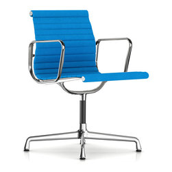 Herman Miller - Herman Miller Eames Aluminum Side Chair with Arms, Fabric - Herman Miller Eames Aluminum Group Armchair Fabric Upholstery by Charles and Ray Eames Herman Miller introduced the Eames Aluminum Group in 1958 as Charles and Ray Eames' response to the need for high-quality indoor-outdoor furniture. It soon moved inside exclusively. Herman Miller celebrates the chair that came in from the cold. Available in management, executive and side chair models, this design remains a classic of style and comfort.