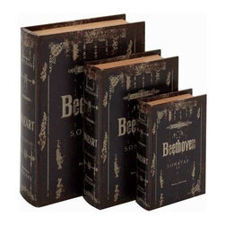 Benzara - Beethoven Themed Set of 3 Leather Book Boxes - Beethoven Themed Set of 3 Leather Book Boxes. Get this unique Set of 3 book boxes to adorn your home. These book boxes are Beethoven themed. Some assembly may be required.