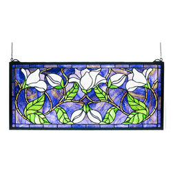 "Meyda - 25""W X 11""H Magnolia Stained Glass Window - This meyda tiffany original design captures the beautyof the magnolia in full flower, artistically conveyingthe ivory white cups tinged with purple. Handcraftedutilizing the copperfoil construction process, stainedart glass and encased in a solid brass frame, eachwindow is a unique creation. Mounting bracket and jackchain included."
