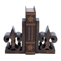 """Book End Pair with Bold Fleur De Lis Motif - A perfect combination of style and functionality, this Wood Book End Pair 8""""H, 5""""W is designed with great finesse to combine durability with style. A perfect decor accent, this book end pair has bold Fleur de Lis motifs for a classic, old-world appeal. The pair also features a rustic looking brown finish, which further accentuates the design aesthetics. Ideally decorated with a matte texture and natural wood grain pattern, the book end pair makes for a charming decor accent. The sturdy grommets on the base prevent the book ends from sliding or shifting during use. Perfectly crafted from premium grade wood, this book end pair has a sturdy yet lightweight design for versatile usage. You can consider gifting this useful accessory to your friend who is interested in books.. It comes with the following dimensions"""