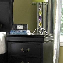 Homelegance - 2-Drawer Wood Nightstand in Black (Black) - Finish: BlackTwo drawers. Metal glides. 21 in. W x 15.75 in. D x 23.75 in. H