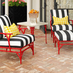 Michael Taylor Outdoor Bamboo Chairs - These Michale Taylor metal bamboo chairs, are my absolute favorite! They jazz up any back yard! It can be purchased through www.jamieshop.com at designer wholesale pricing!