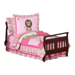 Sweet Jojo Designs - Jungle Friends Toddler Bedding Set (5 Pc.) - The Jungle Friends 5-Piece Toddler Bedding Set by Sweet Jojo Designs will help you create an incredible room for your child. This girl bedding set features detailed monkey, lion, giraffe and elephant jungle themed appliques and embroidery works. This collection uses the stylish colors of pink, green and white. The design uses 100% cotton fabrics combined with micro suede, and plush minky dot fabrics that are machine washable for easy care. This wonderful set will fit all crib and toddler beds.