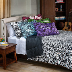 None - Zebra 2-piece Twin-size Mini Comforter Set - Sleep with style underneath the warm,comfortable twin size comforter set,which has an ultra-modern eye-catching zebra pattern. With machine-washable fabric,you can rest assured that caring for this sham and comforter set is going to be easy.
