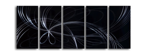 """'Thread of Destiney' 5 Piece Handmade Metal Wall Art Set - Size: 24"""" x 60"""" (24"""" x 12"""" x 5pc).  Enjoy a 100% hand crafted metal wall art made of high grade brushed aluminum over a 1/2 inch thick inner wooden frame. This beautiful wall decor is hand painted and ready to hang out of the box. Each aluminum sheet is hand sanded and hand grinded until the desired holographic effect is accomplished. This process brings the artwork to life and you see it moving as you walk by. Then the grinded panels are hand painted with multiple layers of paint and finished with clear UV coat. With each purchase of our metal art you receive a one of a kind piece due to the handcrafted nature of the product. Hand crafted by a single talented artist. Due to the handcrafted nature, each piece may have subtle differences."""