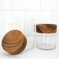 Wood Glass Canisters - My kitchen, and even bathroom, would look like a really classy and sophisticated laboratory if I amassed enough of these jars. Clean, understated, and functional-these jars are for me.