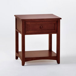 NE Kids - Schoolhouse 1 Drawer Nightstand - Cherry - 4530 - Shop for Nightstands from Hayneedle.com! The Schoolhouse 1 Drawer Nightstand - Cherry is a handy station for all the items you need nearby. The lamp the alarm clock your favorite books ... no longer will they be scattered and inaccessible. This nightstand is sturdily constructed from solid hardwood and finished in gorgeous dark cherry promising longevity and demonstrating remarkable beauty. This piece features a cedar drawer with English dovetail joints to keep all your room's misfit odds and ends within reach. This nightstand measures 22W x 17.25D x 24.75H inches.About New Energy KidsNE Kids is a company with a mission: to create and import truly unique furniture for your child. For over thirty years they've been accomplishing this mission with flying colors one room at a time. Not only will these products look fabulous they will provide perfect safety for your children by adhering to the highest standards set by the American Society for Testing and Material and the Consumer Products Safety Commission. Your kids are in the best of hands and everyone will appreciate these high-quality one-of-a-kind pieces for years to come.