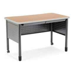 OFM - Executive Series Computer Desk with Pencil Drawers - This heavy-duty table Features: -Desk.-Mar-proof high pressure laminate surface.-Heavy-duty table.-Two pencil drawers.-The round steel tube legscasters on two legs and adjustable leg glides on the other two.-2 pencil drawers and a generous 25.5''x47.25'' high-pressure laminate tabletop. The 16-gauge steel frame is both strong and sturdy. The round steel tube legs feature casters on two legs and adjustable leg glides on the other two, making this a mobile training table that can move where needed. The 16-gauge steel frame is both strong and sturdy.-Executive Series collection.-Designed and built for commercial use.-Distressed: No.-Collection: Executive Series.Dimensions: -Overall dimensions: 29'' H x 47.25'' W x 25.5'' D.-Overall Product Weight: 82 lbs.Assembly: -Specifications:.-Assembly required.