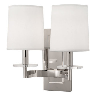 Robert Abbey - Robert Abbey Alice Double Sconce S3382 - Polished Nickel Finish with Lucite Accents