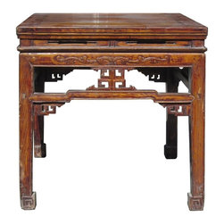 Golden Lotus - Old Chinese Square Elm Wood Stool Table Ottoman - This is an old Chinese square table with nice square Ru Yi pattern around each apron. It has nice details on each side.
