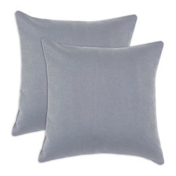 Chooty & Co. - Sensations Grey Self  Backed  Pillow, Set of Two - - Zippered closure  - Removable Sleeve  - Product Depth: 17  - Product Width: 17  - Product Height: 4  - Product Weight: 6  - Material: 100% Polyester Chooty & Co. - PSET17K7103