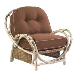 Whitecraft by Woodard River Run Butterfly Lounge Chair - Imagine yourself drifting on the breeze or floating down a river, without ever having to leave your backyard, in the Whitecraft by Woodard River Run Butterfly Lounge Chair. This wide, deep lounger is perfect for spreading out and letting your cares drift away on the breeze. Its thick, comfortable seat and back cushions provide hours of luxurious escape and can be tailored to your personal tastes through a choice of fabric grades and colors and optional trim upgrades. The signature look of this collection handsomely casts the decorative aluminum frame to look like a rustic birch wood construction, finishing it off with a complementary all-weather outdoor wicker in an Antique Palm and Birch weave. With all the charm of a more natural look, the aluminum frame provides a stronger, more durable base that is still lightweight enough to move it around your patio to reconfigure seating arrangements. The hoop-style back and wider curving arms of this particular piece also give it an artistically elegant and graceful appearance.All Seasons Outdoor Wicker is the latest addition to the Woodard line of quality furniture. Each piece is constructed using cutting-edge synthetic fibers that are hand-woven over the aluminum frame. With this combination of resilient, weather-resistant materials and Woodard's quality workmanship, All Seasons Wicker will retain its beauty and integrity for years.In the Aluminum Collections, Woodard's trademark for excellence begins with a core of seamless, virgin aluminum: the heaviest, purest, and strongest available. The wall thickness of Woodard frames surpasses the industry's most rigid standards. Cast aluminum furniture is constructed using only the highest grade aluminum ingots, which are the purest and most resilient aluminum alloys available. These alloys strengthen the furniture and simultaneously render it malleable. The end result is a fusion of durability and beauty that places Woodard Aluminum furniture in a league of its own.Woodard: Hand-crafted to Withstand the Test of TimeFor over 140 years, Woodard craftsmen have designed and manufactured products loyal to the timeless art of quality furniture construction. Using the age-old art of hand-forming and the latest in high-tech manufacturing, Woodard remains committed to creating products that will provide years of enjoyment.Most Woodard furniture is assembled by experienced professionals before being shipped. That means you can enjoy your furniture immediately and with confidence.Together, these elements set Woodard furniture apart from all others. When you purchase Woodard, you purchase a history of quality and excellence, and furniture that will last well into the future.Important NoticeThis item is custom-made to order, which means production begins immediately upon receipt of each order. Because of this, cancellations must be made via telephone to 1-800-351-5699 within 24 hours of order placement. Emails are not currently acceptable forms of cancellation. Thank you for your consideration in this matter.