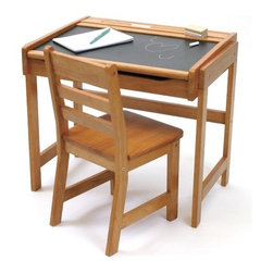 "Lipper International - 25"" W Art Desk with Chalkboard Top and Chair - Promote the writing skills and creativity of your child with Lipper's Desk with Chalkboard Top and Chair. With a sturdy construction and Pecan finish, this set is a guaranteed child-pleaser. This desk is a necessary addition to any playroom or bedroom. Features: -Desk and chair set for children.-Handy, flip-top feature for additional storage space.-Chalkboard desktop.-Comfortable and sturdy matching chair.-Durable all-wood construction.-Product Type: Child's desk & chair.-Collection: Juvenile Collection.-Hardware Finish: Nickel.-Distressed: No.-Powder Coated Finish: No.-Top Material: Wooden.-Base Material: Wooden.-Hardware Material: Nickel.-Non-Toxic: Yes.-Scratch Resistant: No.-Rolltop Desk: No.-Corner Desk: No.-Height Adjustable: No.-Drawers: No.-Keyboard Tray: No.-Jewelry Tray: No.-Exterior Shelves: No.-Cabinets Included: Yes -Number of Cabinets : 1.-Number of Interior Shelves: 0.-Adjustable Interior Shelves: No.-Removable Interior Shelves: No..-Ergonomic Design: No.-Handedness: Both.-Chair Included: Yes -Attached Seat: No.-Chair Frame Finish: Pecan stain.-Chair Seat Finish: Pecan stain..-Legs Included: Yes -Number of Legs: 4.-Leg Material: Wood..-Casters: No.-Hutch Included: No.-Cork Back Panel: No.-Locking Drawer or Cabinet: No.-File Drawer: No.-CPU Storage: No.-Cable Management: No.-Built In Outlets: No.-Built In Surge Protector: No.-Lighted: No.-Finished Back: Yes.-Age Recommendation: Up to 8 years old.-Weight Capacity: 50 lbs.-Swatch Available: No.-Commercial Use: No.-Recycled Content: No.-Eco-Friendly: Yes.-Product Care: Wipe clean with a damp cloth.-Solid Wood Construction: Yes.Specifications: -FSC Certified: No.-EPP Compliant: No.-ISTA 3A Certified: No.-General Conformity Certificate: No.-Green Guard Certified: No.Dimensions: -Overall Height - Top to Bottom: 22"".-Overall Width - Side to Side: 25"".-Overall Depth - Front to Back: 18.75"".-Cabinets: -Cabinet Interior Height: 6.625"".-Cabinet Interior Width - Side to Side: 22.75"".-Cabinet Interior Depth - Front to Back: 14.5""..-Desktop Height: 22"".-Desktop Width - Side to Side: 25"".-Desktop Depth - Front to Back: 18.75"".-Chair: -Chair Height: 23.625"".-Chair Width - Side to Side: 11.375"".-Chair Depth - Front to Back: 13"".-Seat Height: 13.25""..-Legs: -Leg Height: 12.375"".-Leg Width - Side to Side: 0.75"".-Leg Depth - Front to Back: 14.5""..-Overall Product Weight: 27 lbs.Assembly: -Assembly Required: Yes.-Tools Needed: Allen key & screws included.-Additional Parts Required: No."