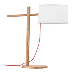 ParrotUncle - Cross Design Handing Drum Shade Modern Table Lamp - The lines on this lamp are clean and modern, yes, but they're far from minimal. Its base is cross combined by two pieces of wood sticks and ends in a fabric drum shade that hangs like a pendant. It provides just the right amount of interest and light.