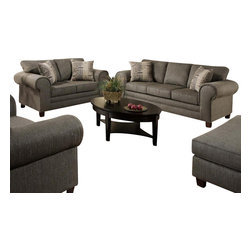 Chelsea Home Furniture - Chelsea Home Camden 2-Piece Living Room Set in Romance Graphite - Camden 2 Piece Living Room Set in Romance Graphite - Channing Taupe Pillows belongs to the Chelsea Home Furniture collection .