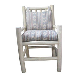 Pre-owned Santa Fe Style Accent Chair - Take a seat on this sweet Santa Fe style accent chair! This looker was originally purchased at a store in Georgetown, Santa Fe Style. It is in excellent condition, and features a wood frame, with muted Navajo-print upholstered cushions.