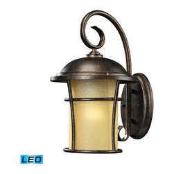 Elk Lighting - Elk Lighting 45035/1-LED Bolla Vista 1 Light Outdoor Sconce In Regal Bronze - With A Tuscan Villa Influence, This Outdoor Collection Has A Single Cylindrical Amber Glass That Casts A Warm Glow Adding Charm To Your Outdoor Ambiance. Its Flared Frame Has An Unencumbered Design With A Regal Bronze Finish. - LED Offering Up To 800 Lumens (60 Watt Equivalent) With Full Range Dimming. Includes An Easily Replaceable LED Bulb (120V).