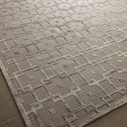 Exquisite Rugs - Exquisite Rugs Silver Blocks Rug, 12' x 15' - Bring undeniable shine and glamour to your decor with this hand-knotted and hand-trimmed rug featuring a gorgeous tone-on-tone silver pattern. Despite its delicate good looks, this durable beauty is intended for foot traffic. Made of wool pile and visc...