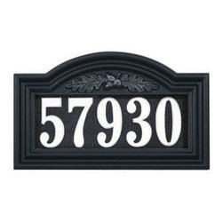 """Home Decorators Collection - Oak Leaf One-Line Illuminated Arch Address Plaque - Our Illuminated One-Line Address Plaque provides excellent visibility, both day and night. Send a welcoming message to loved ones visiting you after dark with this house sign. These """"smart"""" custom address plaques know when it's daytime or nighttime! They are designed with quality crafted cast aluminum frames surrounding Plexiglas® and white vinyl number faces that are lit from above. Easy-to-read numbers for maximum visibility. Includes one 15""""H stake. Can be mounted to the wall. Batteries not included."""