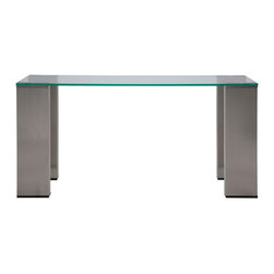 Nuevo Living - Parker Console Table - Looking for a statement piece that will capture everyone's attention the moment they walk in? The sleek plank-style stainless steel legs and glass top of this narrow-enough-for-a-small-entryway console table will more than draw them in.