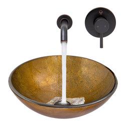 VIGO Industries - VIGO Branco Glass Vessel Sink and Olus Wall Mount Faucet Set - The VIGO Branco glass vessel sink and Olus wall mount faucet set in Antique Rubbed Bronze exudes rustic elegance with it's presence.