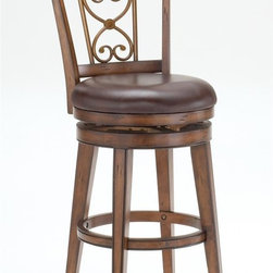 Hillsdale - Swivel Stool - Scroll Back (26 in. Counter He - Choose Size: 26 in. Counter HeightWell made and sturdyScroll back designBrown leather seats. 22 in. W x 23 in. D x 43 in. H (35 lbs.)Well made and sturdy construction with a dark chestnut finish give the Villagio scroll back swivel stool a defined appearance. The scroll back design makes this stool a timeless classic while the brown leather seats add warmth and comfort.