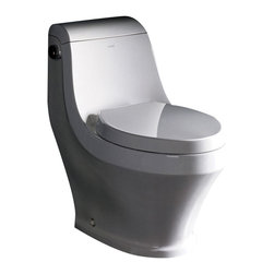 """Fresca - Fresca Volna One-Piece Contemporary Toilet - Dimensions:  29""""L x 16.25""""W x 28.13""""H. UPC Approved / EPA WaterSense Certified. Single Flush (1.6gpf). Toilet Seat Included. Bowl Type:  Elongated. Trap Distance:  12"""" (Drain w/ Trap Included). High Quality Stain Resistant Polish w/ Fully Glazed Trapway. . The Volna elongated, one-piece toilet features an elegant, sophisticated design, that is both comfortable look at and to sit on.  This toilet features a low consumption single flushing system (1.6gpf).  It also features a fully glazed inner trapway and comes with a stain resistant polish making it easy to keep clean."""