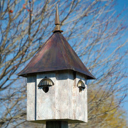 Avian Meadows Bird House - Old World Finish with Copper Roof - The handsome Avian Meadows Bird House is the duplex version of our popular Avian Estates with all the same luxury as the original. Two perfectly sized compartments, one fabulous house!