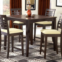 Hillsdale - 5 Pc Dining Set w Counter Height Table & 4 Up - For residential use. Set includes Counter Height Table and 4 Stools. With Fix top. Neutral ivory fabric. Clean tapered legs. Espresso Finish. Table: 36 in. D x 60 in. W x 29.5 in. H . Stool: 18 in. W x 21.75 in. D x 40.5 in. H, Seat Height: 24 in. HBalanced and precise lines combine with an espresso finish and clean tapered legs to create our Tiburon dining collection. All with matching neutral ivory fabric, this ensemble bridges the gap between traditional and contemporary design to become a perfect addition to you dining room, kitchen or nook.