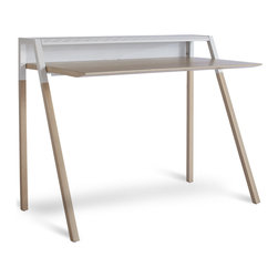 "Blu Dot - ""Blu Dot Cant Desk, White Ash / White"" - ""A cantilevered silhouette sets the stage for hard work. Or updating your page so everybody knows you just bought a sweet desk. Desktop is in a warm walnut or white-ash veneer with solid legs and your choice of putty grey, humble red or white steel accents. """