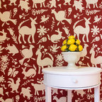 Large Otomi Folk Art Wall Stencil - Get lost in the folk art themes of the Large Otomi Folk Art Wall Stencil from Royal Design Studio. Inspired by the richly embroidered textiles of the Otomi people, this stencil is a great way to add a bold accent to your space. This large allover pattern is a great for accent walls or a large piece of furniture. Your project is sure to stand out with this unique stencil design! For a smaller project be sure to check out our Small Otomi Folk Art Furniture Stencil.