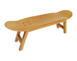 Modern Wooden Stool, Honey - Stool with Canadian maple wooden frame and skateboard.