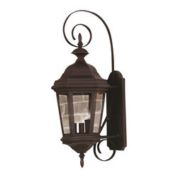 Kenroy - Kenroy 16313BL Estate Traditional Outdoor Wall Sconce - The Antique Patina or rich Black finish of Estate will grace any size manor.  With clear glass panels, the wall-mounted lanterns feature sinuous decorative brackets, adding scale and refinement to your entryway.  *Cast Aluminum