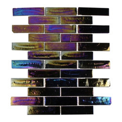 "GlassTileStore - Iridescent Inkwell Brick Glass Tile - Iridescent Inkwell Glass Tiles          This eye-catching iridescent glass tile has a distinct and unique texture / chiseled edged that looks stunning. This tile will be a great back splash to add color to your kitchen, or any decorated room. The mesh backing not only simplifies installation, it also allows the tiles to be separated which adds to their design flexibility.         Chip Size: 1 1/4"" x 6""   Color: Multi-color   Material: Glass   Finish: Polished   Sold by the Sheet - each sheet measures 13""x9 3/4"" (0.88 sq. ft.)   Thickness: 5mm             - Glass Tile -"