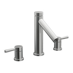 Moen - Moen Chrome Double-handle High Arc Roman Tub Faucet - The Moen chrome double-handle high arc roman tub faucet is designed to fashionably match your decor. The T913 faucet features solid brass construction for durability and reliability.