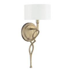 Landry 1-light Wall Sconce in Brushed Gold with White Fabric Shade -