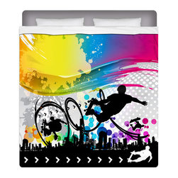 "Eco Friendly ""Skate City"" Skateboard Bedding Queen Sheet Set - Our ""Skate City"" Queen Size Surf Sheet Set is made of a lightweight microfiber for the ultimate experience in softness~ extremely breathable!"