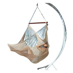 Jumbo Sized Cotton White Weather Resistant Rope Hammock Chair - Hammock chairs bring style and relaxation to any decor. This Jumbo sized cotton white rope hammock chair is hand woven from soft spun polyester. Unlike cotton chairs, they will not rot, mold or mildew, and should last you for years. Woven into the body is an extra long extendable footrest that enables the user to really stretch out. The tropical hardwood spreader bar s a full 47 inches wide giving ample shoulder room for any sized person, and has multiple coats of marine varnish to protect it from the elements. It has a maximum capacity of 275 pounds. This chair hangs easily from one suspension point that is 7.5ft or higher. NOTE: It does not come with stand or mounting hardware.