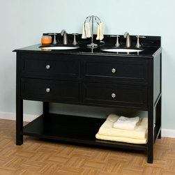 Taren Double Sink Vanity - This black double vanity has a certain simplicity, and I really like the granite countertop.