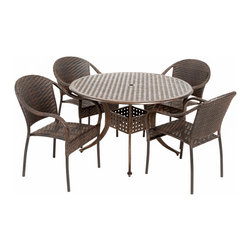 Great Deal Furniture - Livingston Outdoor 5pcs Cast Aluminum Wicker Dining Set - The Livingston circular outdoor cast and wicker set is a perfect addition to add some style to any outdoor living space. This unique set combines a cast aluminum table with versatile PE wicker chairs to create an interesting touch of expression to your backyard or patio.