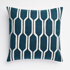 Honeycomb Crewel Pillow Cover - Blue Lagoon | west elm